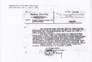 Stadt Neu-Ulm : Verbotsschreiben 1933